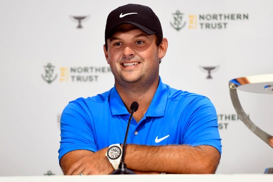 Patrick Reed talks to the media after winning The Northern Trust at Liberty National Golf Course on Sunday, August 11, 2019, in Jersey City.