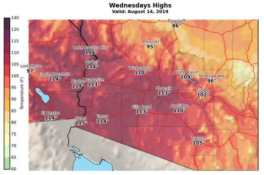 The National Weather Service Phoenix issued an excessive heat watch starting on Tuesday and ending Thursday. Temperatures could reach up to 115 degrees in some areas.