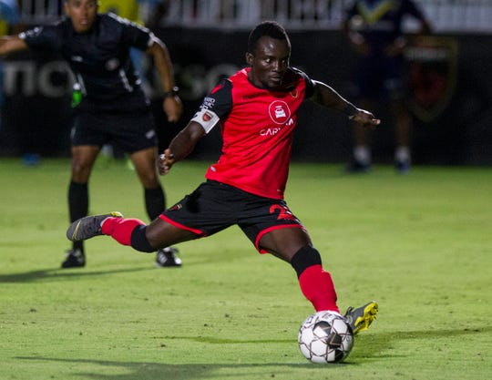 Phoenix Rising's Solomon Asante scores on a penalty kick in the second half against El Paso at Casino Arizona Field in Tempe Aug 10, 2019. (Darryl Webb/For the Republic)