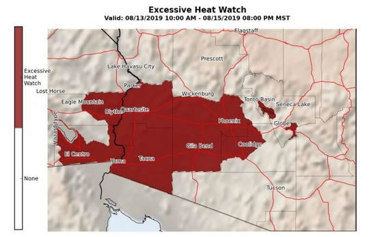 The National Weather Service Phoenix issued an excessive heat watch starting on Tuesday and ending Thursday. Temperatures could reach up to 115 degrees, according to the service.