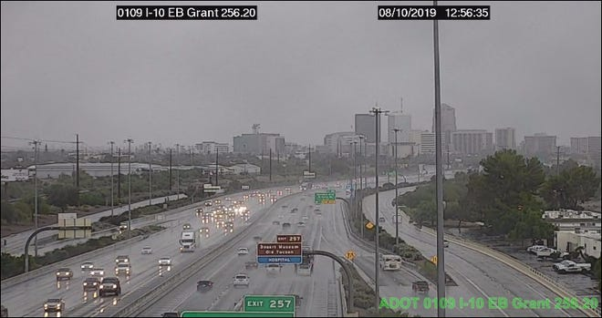 Showers continued to drench Tucson on Aug. 10, 2019, as observed by ADOT traffic cameras at Interstate 10 and Grant Road.