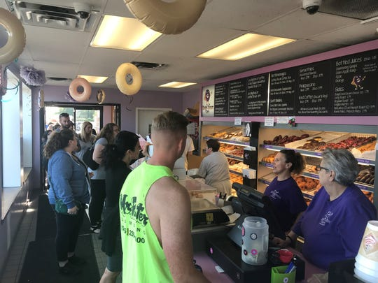 Customers at Ridge Donut on Sunday.