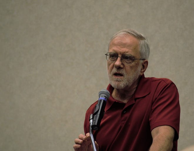 Howie Hawkins, the Green Party candidate for president, discusses the Green New Deal, Saturday, Aug. 10, 2019, during a panel discussion.