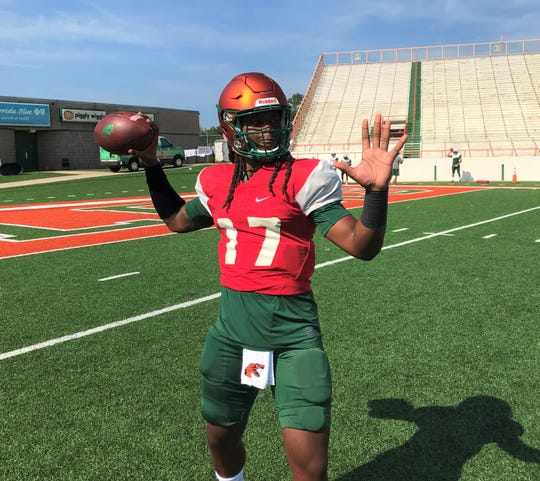 FAMU backup quarterback Resean McKay played with the first and second-string players during the scrimmage on Sunday, Aug. 11, 2019.