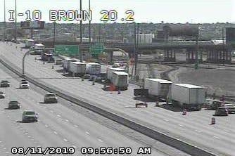 Traffic lines up to exit Interstate 10 East in Central El Paso. I-10 was closed in both directions at the Spaghetti Bowl due to construction on Sunday, Aug. 11, 2019.
