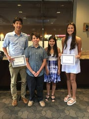 (From left) Maxwell Dragan, graduate of Amity High School; Kyle Phillips, graduate of Pope John Paul II Catholic Elementary School; Kimiko Watkins, graduate of Pittsgrove Township Middle School; and Abigail Nakai, graduate of Cumberland Regional High School, were recognized during the Seabrook Chapter Japanese American Citizens League's 2019 Graduates' Recognition Luncheon.