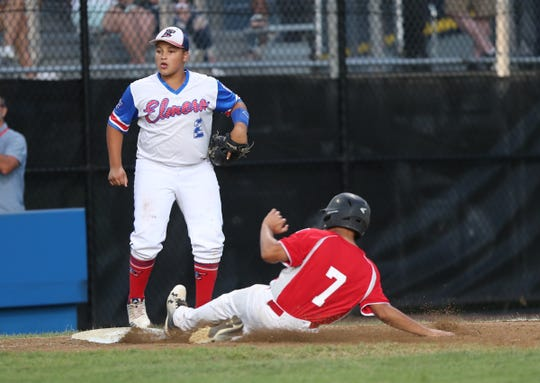 Haverstraw's Jayden Torres (7) slides in safe at third during the Mid-Atlantic regional little league final at the Giamatti Little League Center in Bristol, Conn. on Saturday, August 10, 2019.