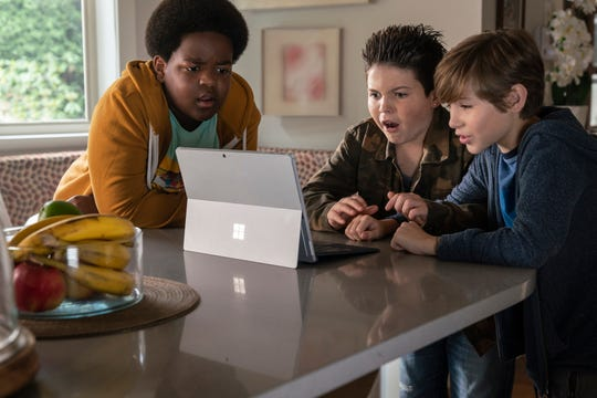 "Lucas (Keith L. Williams, left), Thor (Brady Noon) and Max (Jacob Tremblay) are horrified by Internet porn in ""Good Boys."""
