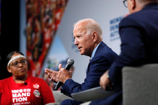 Democratic presidential candidate former Vice President Joe Biden speaks at the Presidential Gun Sense Forum, Saturday, Aug. 10, 2019, in Des Moines, Iowa.