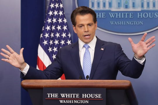 Former White House communications director Anthony Scaramucci is pictured answering  reporters' questions during the daily White House press briefing in July 2017.