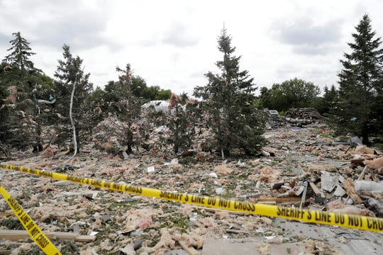 A debris field surrounds the site of a house explosion that killed homeowner Mark S. Zielke on Sunday.