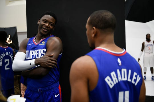Angel Delgado (left) during the L.A. Clippers' 2018 Media Day