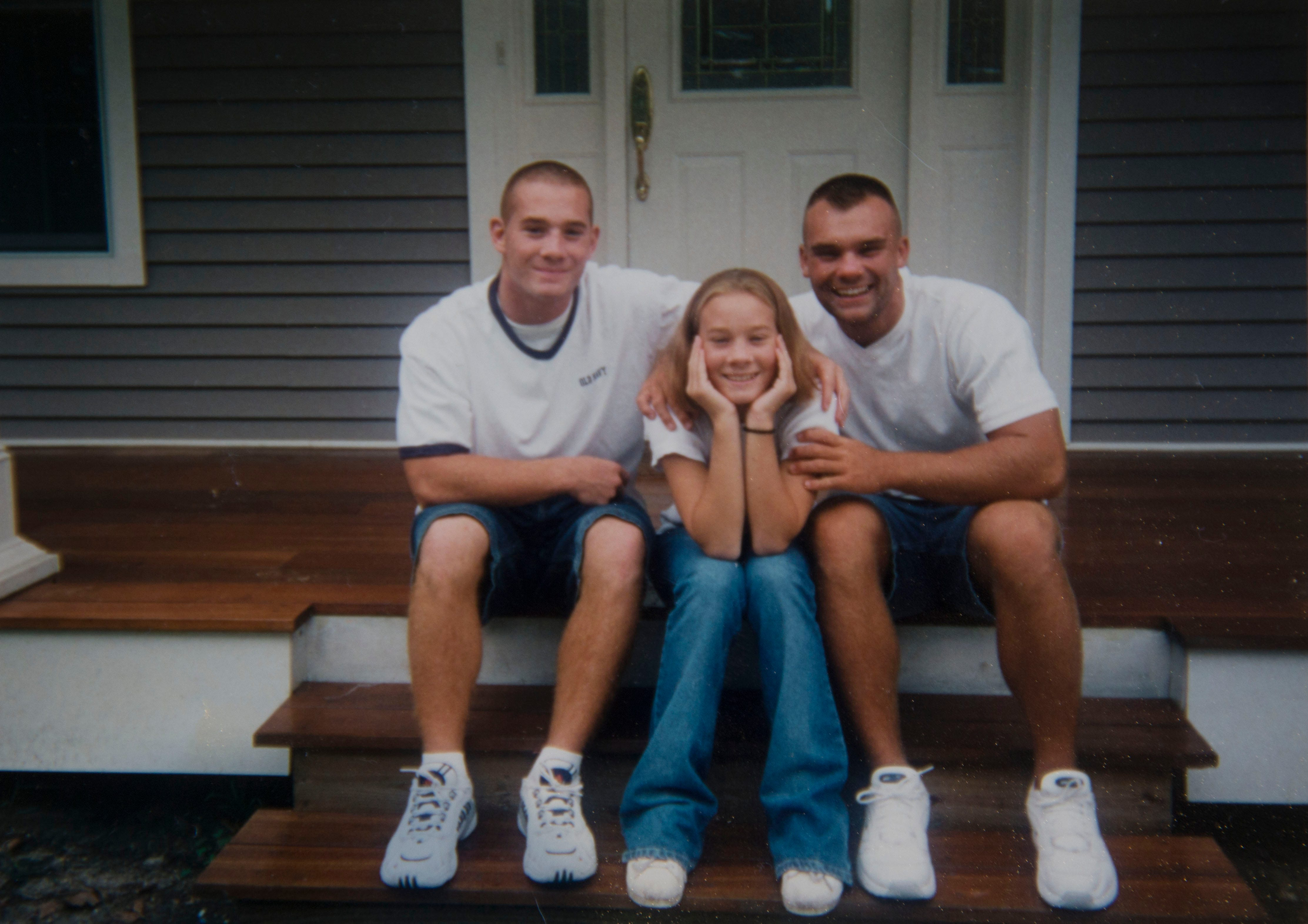 A young Richie Lapinski (left) with his brother and sister in a family photo. All three siblings would battle opioid addiction in the years to come, and are now in recovery.