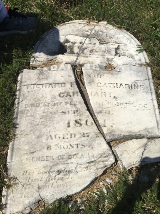 Civil War soldier Daniel Carhart's broken gravestone in Keyport's Green Grove Cemetery.