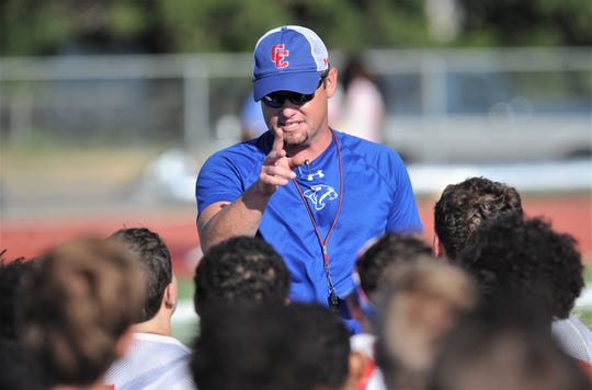 Cooper coach Aaron Roan talks to his team during the Cougars' first day of fall practice Monday, Aug. 12, 2019, at Cooper High School.
