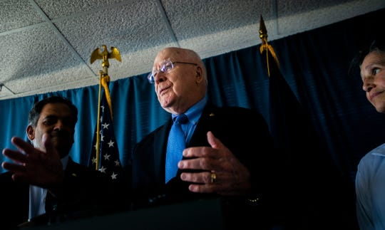 U.S. Sen. Patrick Leahy D-VT, speaks at a press conference in his Burlington office August 8, 2019.