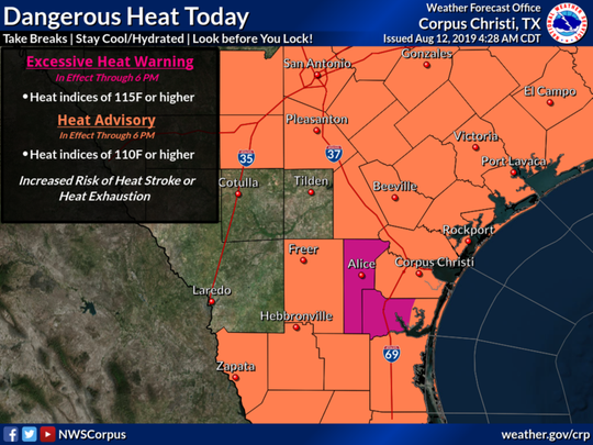 An excessive heat warning and heat advisory was issued Aug. 12, 2019 for most of South Texas.