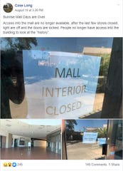 A Facebook post announcing Sunrise Mall's closed interior.