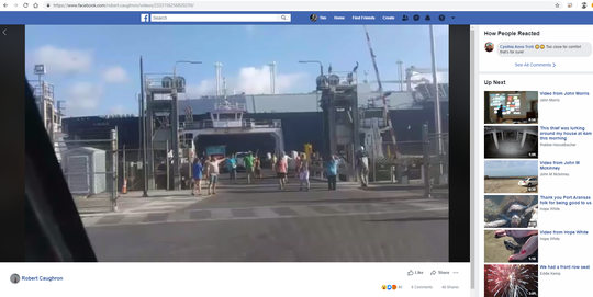 A video on Aug. 12, 2019 shows an LNG carrier passing closely by a ferry in Port Aransas, causing some passengers to run off in alarm.