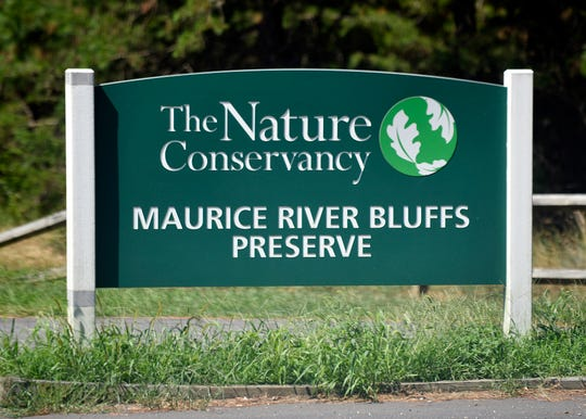 Maurice River Bluffs Preserve sign.
