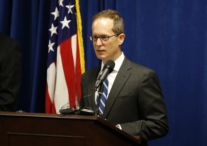 U.S. Attorney Benjamin Glassman speaks during a press conference to announce federal charges against a friend of the Dayton mass shooting suspect at the federal courthouse in downtown Dayton, Ohio, on Monday, Aug. 12, 2019.