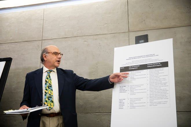 Attorney Al Gerhardstein announces that the Plush family is pursing legal action against the City of Cincinnati at a press conference in Carew Tower Monday, August 12, 2019 in downtown Cincinnati.
