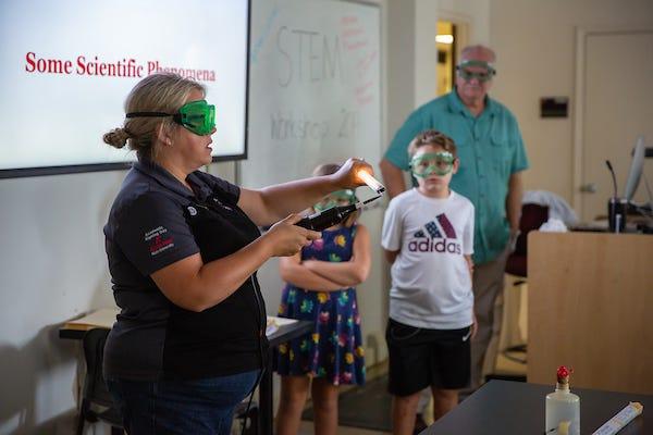Lisa Sullivan presents low-budget demonstrations to 30 rural science teachers.