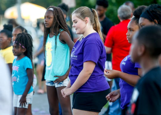 Jaela Fanokos, 13, practices a move she and Alivia Morris, 13, will be leading a group in during a group dance demo at the Kleeman Recreation Center in Clarksville on July 24, 2019.