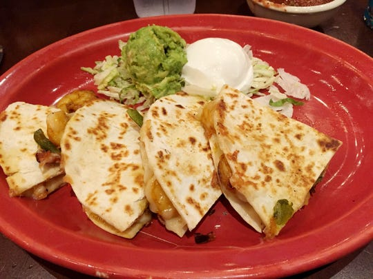 The grilled shrimp quesadillas at Uncle Julio's.