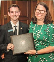Caleb Shriver with Secretary of the Majority Laura Dove at the Senate Page Program graduation ceremony in Washington, D.C. on June 5.
