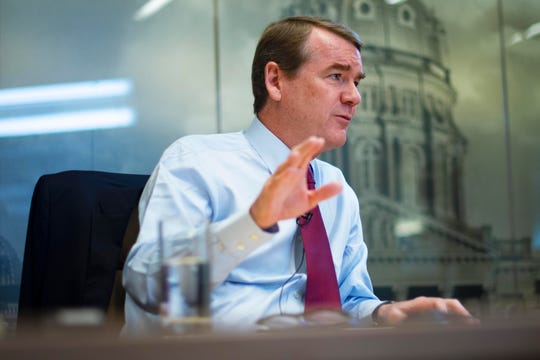 Democratic presidential candidate and U.S. Sen. Michael Bennet of Colorado meets with the Des Moines Register editorial board on Aug. 12, 2019.