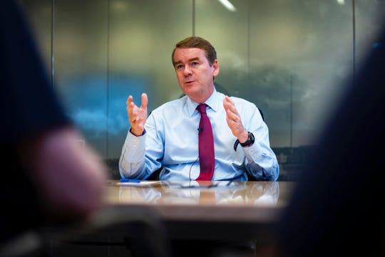 2020 presidential candidate and U.S. Sen. Michael Bennet, D-Colo., meets with the Des Moines Register editorial board on August 12, 2019.