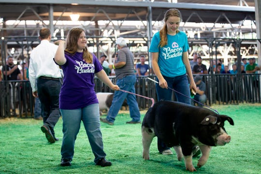 Katie Ball, 22, of Waukee, left, shows a pig with her mentor Nevaeh Brown, 14 of Earlham, right, during the Bacon Buddies swine show at the Iowa State Fair on Saturday, Aug. 10, 2019 in Des Moines. Bacon Buddies is a new program that pairs people with special needs with FFA participants to show pigs.