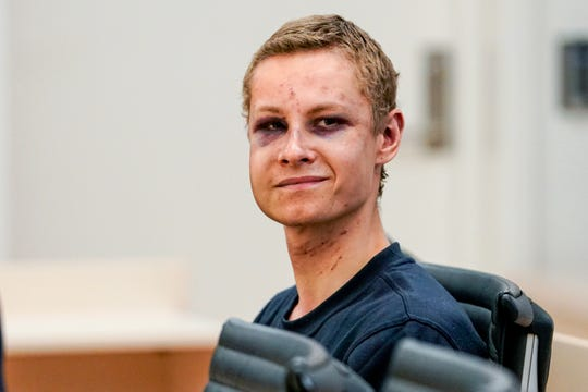 Suspected gunman Philip Manshaus appears in court, in Oslo, Norway, Monday, Aug. 12, 2019.