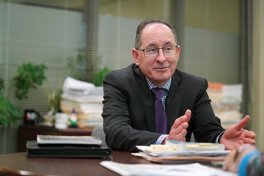 """New state superintendent of public instruction Dr. Michael Rice said Benton Harbor's schools should not be shut down. """"The high school is the center of a community, particularly in a one-high-school town,"""" he said."""