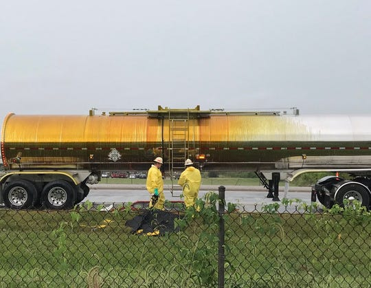 The tractor-trailer that spilled the hazardous material onto Indiana 66.