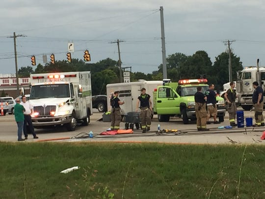 Crews near the scene of a chemical spill between Epworth and Grimm roads on Indiana 66.