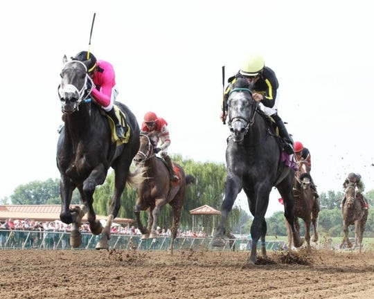 Gray Magician, left, pulls a win out of his hat in the battle of grays in Sunday's Ellis Park Derby.
