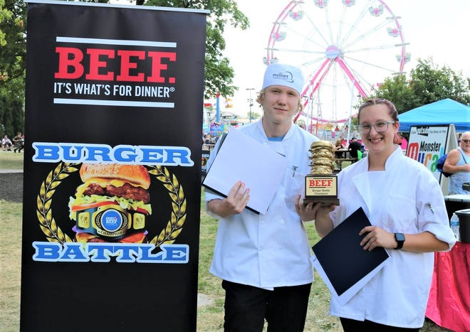 Vanguard Tech Culinary Arts Students Tim Gibbs and Layné Earnest won first place in the ProStart Capital City Burger Battle at the Ohio State Fair on July 28.