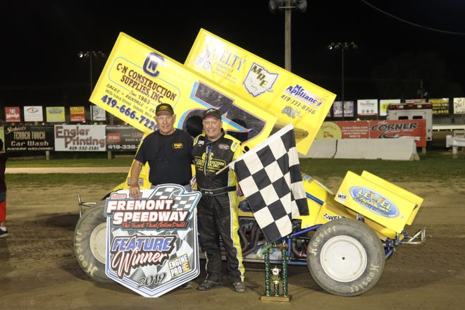John Ivy, right, passed Jim Linder, left, on Fremont Speedway's all-time win list Saturday with 59.