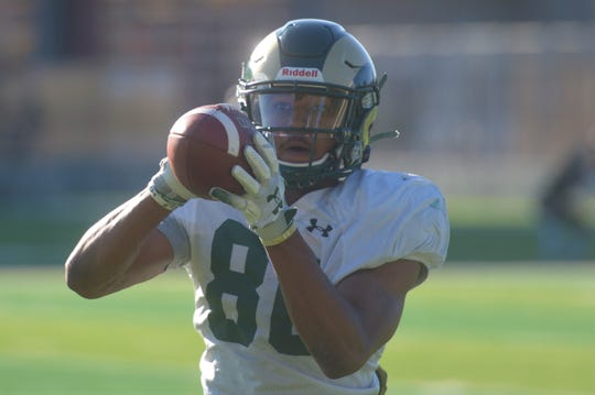 CSU football wide receiver Nikko Hall during practice outside Canvas Stadium on Monday, Aug. 12, 2019.