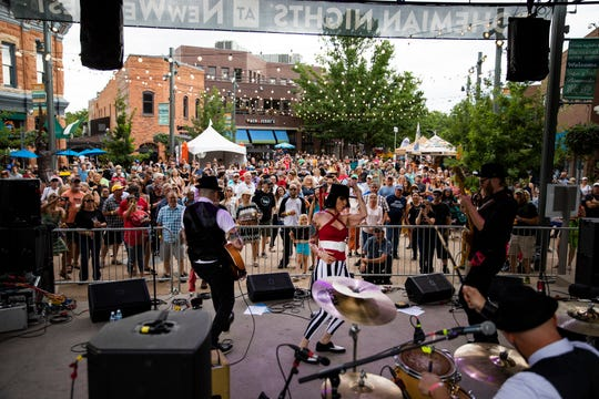 Kerry Pastine & The Crime Scene perform on the Old Town Square Stage during the final day of Bohemian Nights at NewWestFest on Sunday, August 11, 2019, in Old Town Fort Collins, Colo.