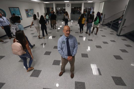 Superintendent Greg Adkins welcomes students to East Lee County High School on the first day of school Monday, August 12, 2019.