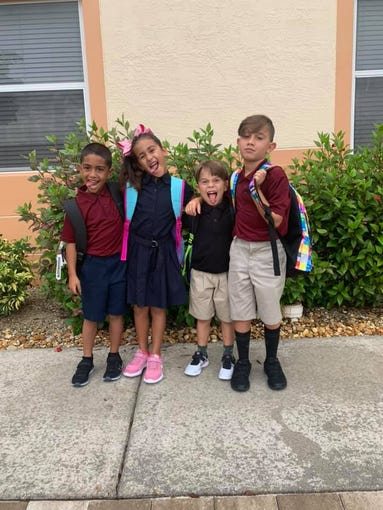 Getting silly on the first day of school.
