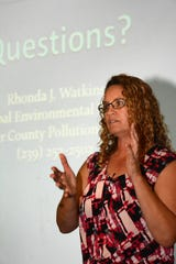Rhonda Watkins lays out the science and history of red tide during a program on dealing with red tide at the South Regional Library in March 2017.