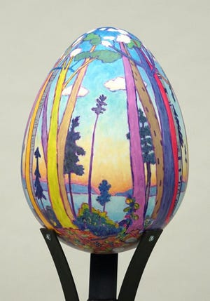 """Chorus by the Shore,"" acrylic on molded form by Lynn Gilchrist, is one of 28 artist-created eggs that were part of Egg Harbor's summer community art project. The eggs are up for bids Saturday night during the EGGstravaganza Gala Auction."