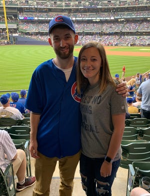 Ryan Donovan and his girlfriend, Hannah Bauer, attended a Milwaukee Brewers-Chicago Cubs game on July 26.