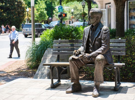 Statue of Charles H Townes in downtown Greenville.