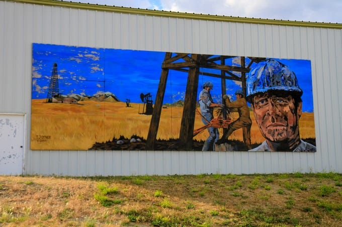 Downtown wall mural at Oil Field Lumber and Supply, Inc. in Cut Bank