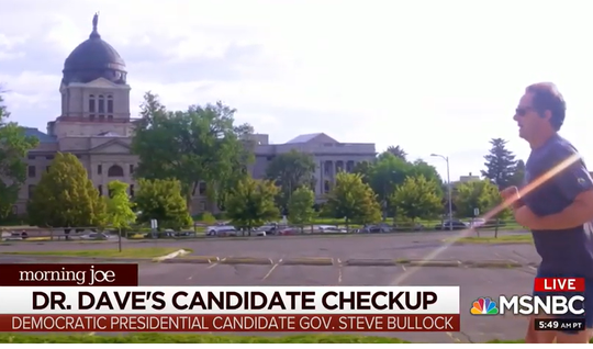 "Gov. Steve Bullock is shown running by the state Capitol on ""Morning Joe"" segment."
